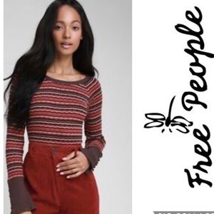Brown Top FREE PEOPLE  Stripe Crew Neck NWT